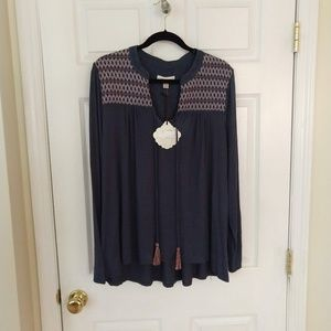 Knox Rose Tops - Knox Rose Blouse - XXL - Gray - BOHO - NWT